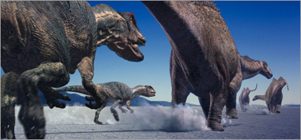 Allosaurus chases Diplodocus - from the series Walking with Dinosaurs